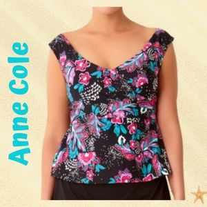 Plus Size Floral Printed Tankini Top Anne Cole